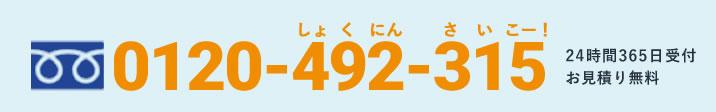 フリーダイヤル 0120-492-315 24時間365日受付/お見積り無料